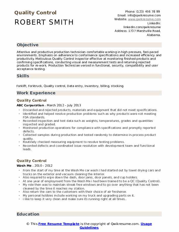 Quality Control  Resume Template