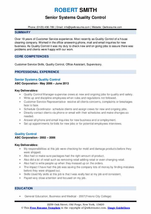 Senior Systems Quality Control Resume Sample