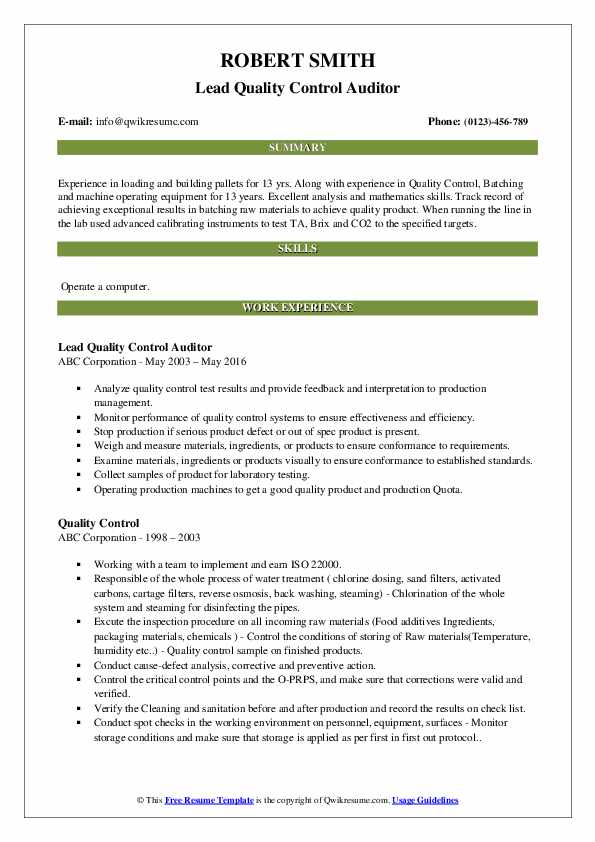Lead Quality Control Auditor Resume Example