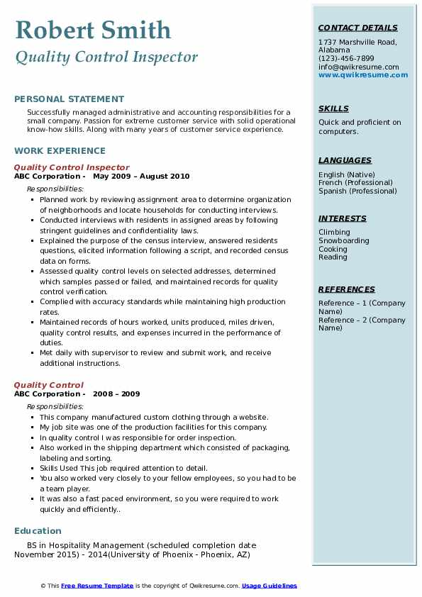Quality Control Inspector Resume Model