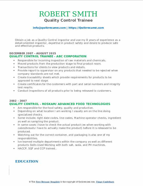 Quality Control Trainee Resume Model