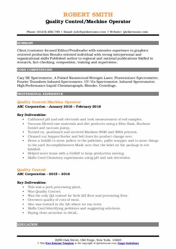 Quality Control/Machine Operator Resume Model