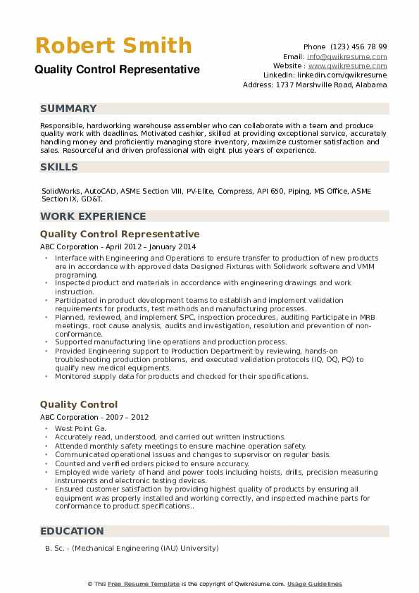 Quality Control Representative Resume Example