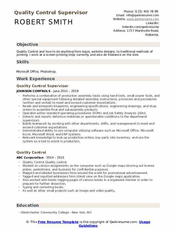 Quality Control Supervisor Resume Sample