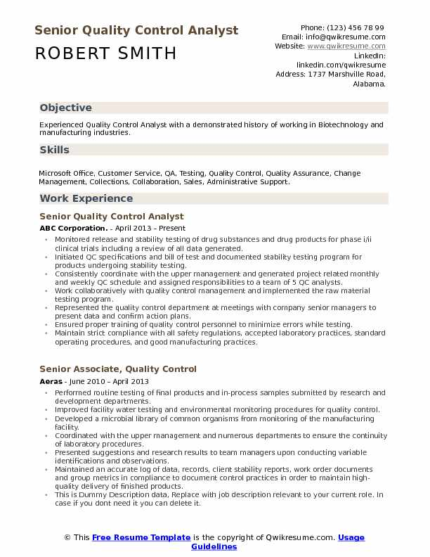 senior quality control analyst resume model - Quality Control Resume