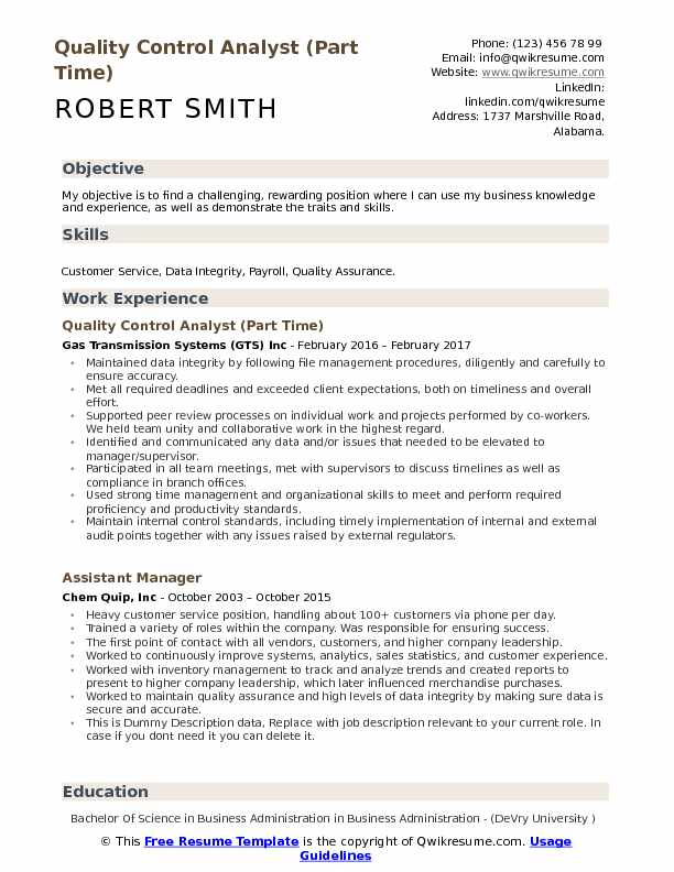 quality control analyst part time resume format - Quality Control Resume