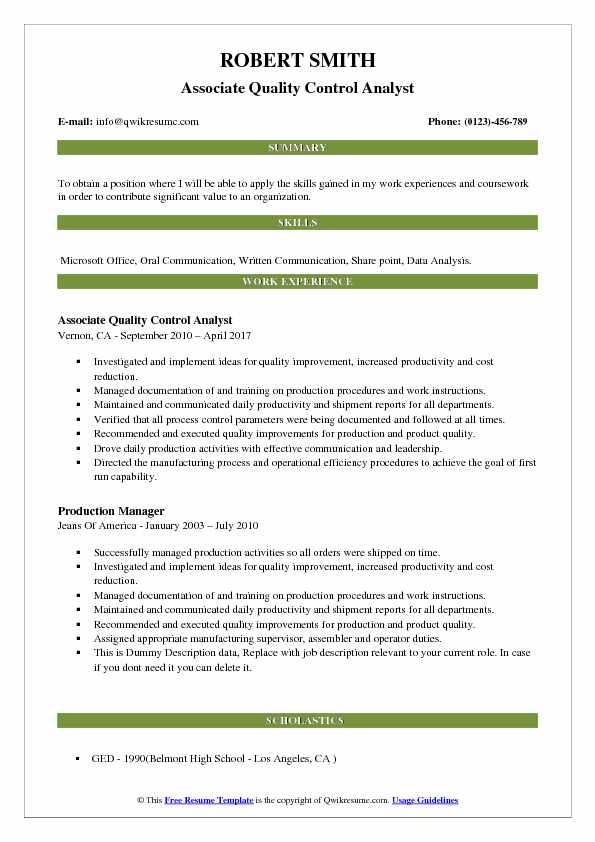 Coursework on a resume quality control analyst