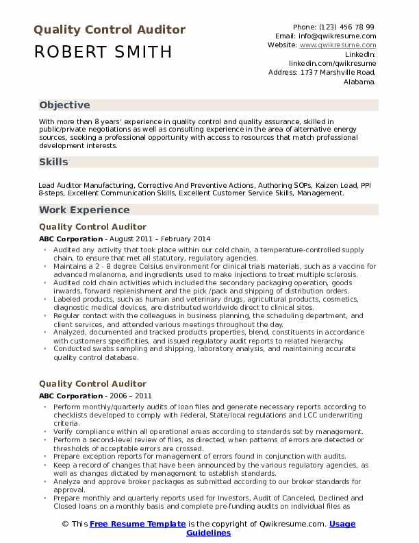 Quality Control Auditor Resume Template
