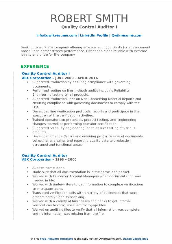 quality control auditor resume samples
