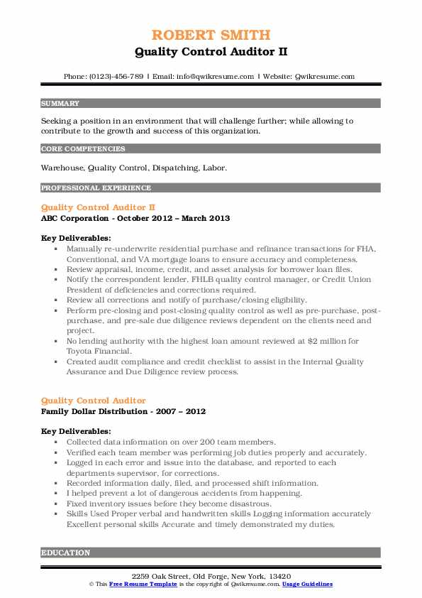 Quality Control Auditor II Resume Example