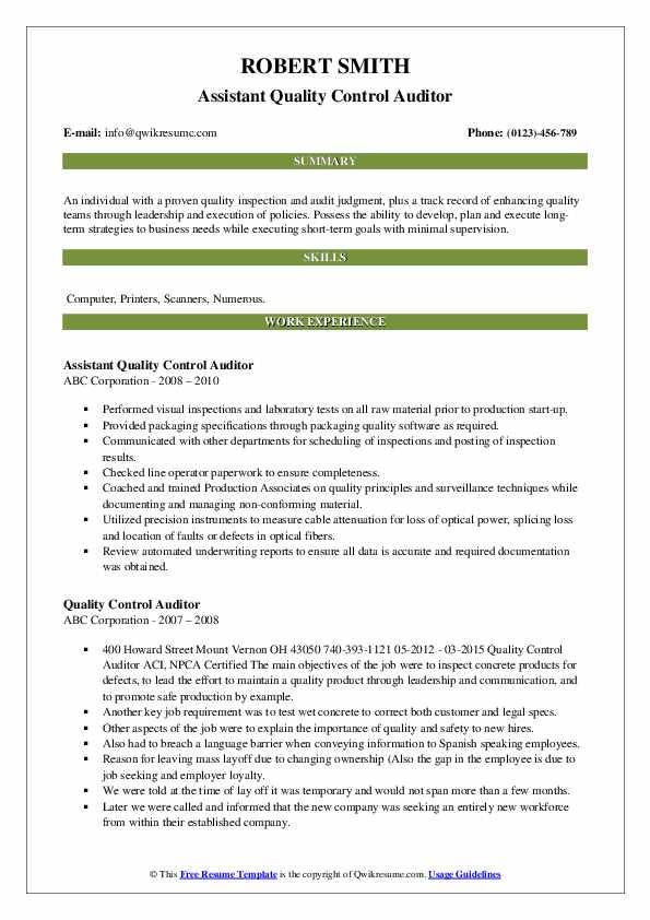 Assistant Quality Control Auditor Resume Example