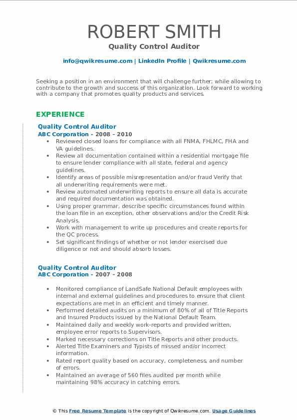 Quality Control Auditor Resume example