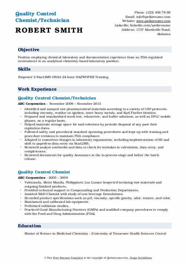 Quality Control Chemist/Technician Resume Sample