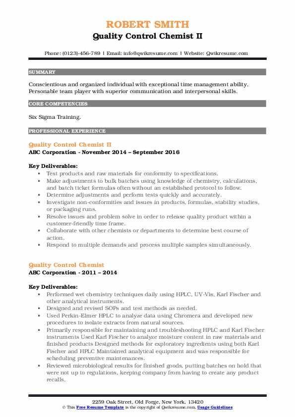 Quality Control Chemist II Resume Format