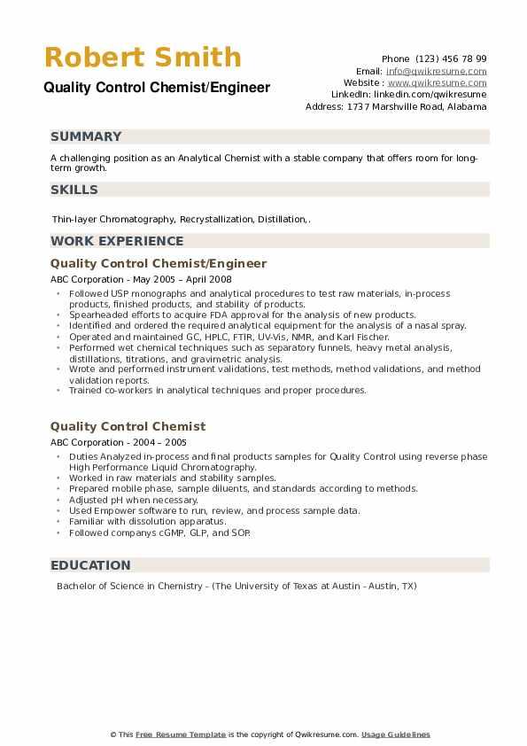 Quality Control Chemist/Engineer Resume Model