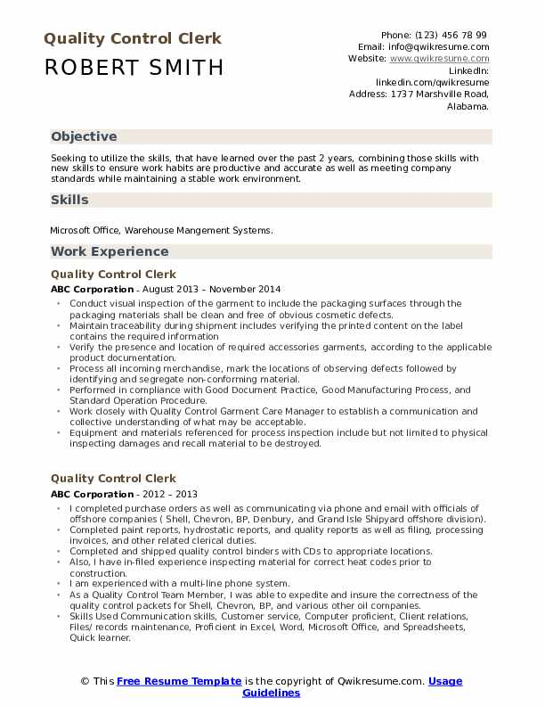 Quality Control Clerk Resume Model