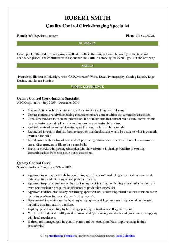 Quality Control Clerk-Imaging Specialist Resume Sample