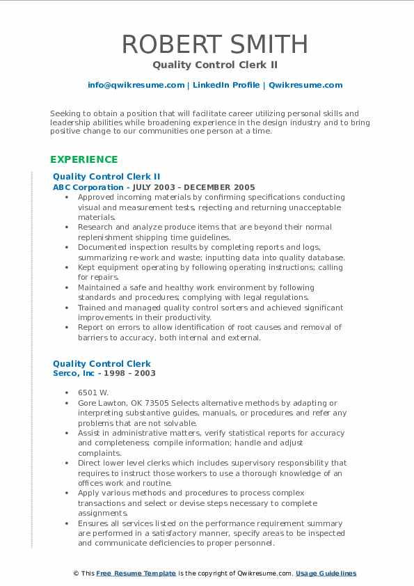 Quality Control Clerk II Resume Model