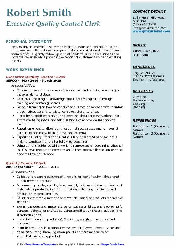 Executive Quality Control Clerk Resume Example