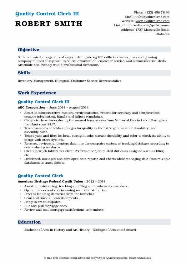Quality Control Clerk III Resume Example