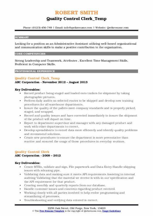 Quality Control Clerk_Temp Resume Format
