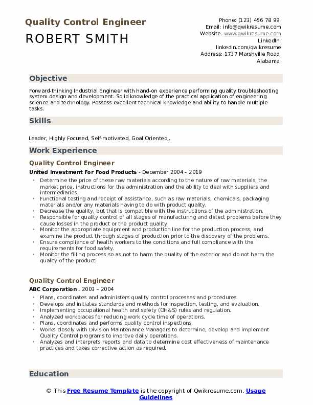 quality control engineer resume samples