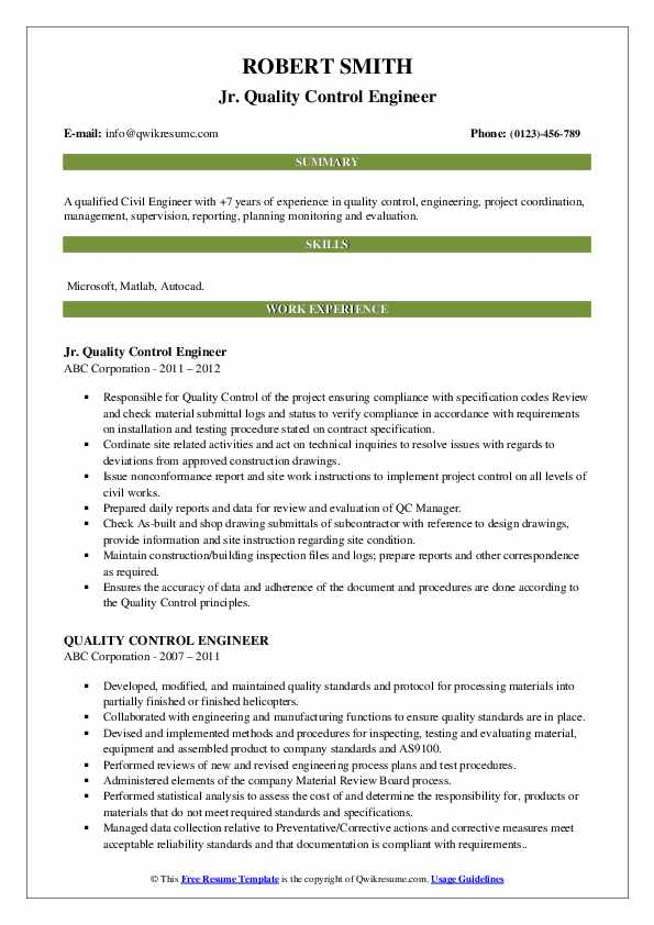 Jr. Quality Control Engineer Resume Template