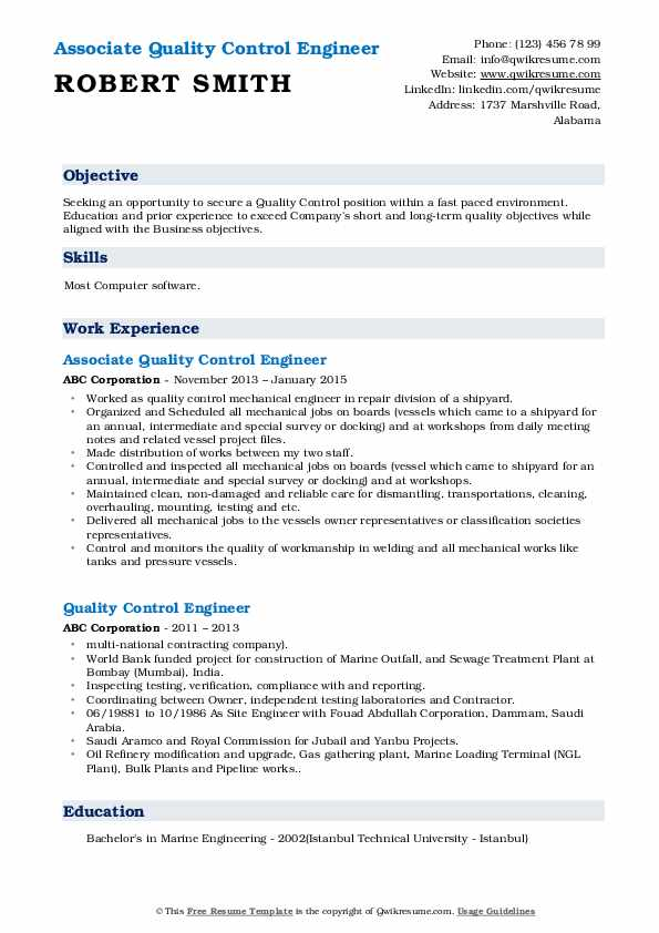 Associate Quality Control Engineer Resume Sample