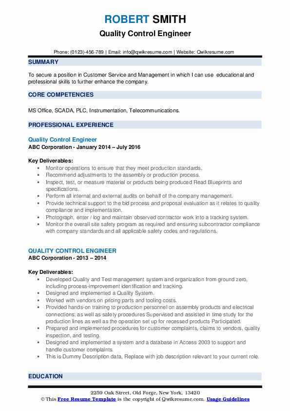 Quality Control Engineer Resume example