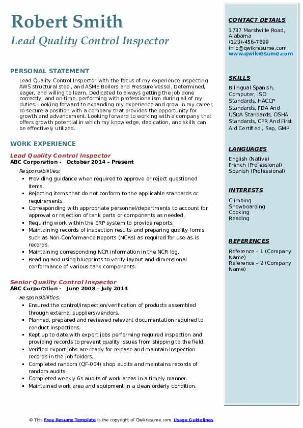 Quality Control Inspector Resume Samples Qwikresume