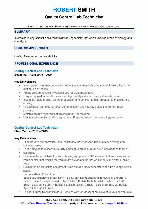 Quality Control Lab Technician Resume example
