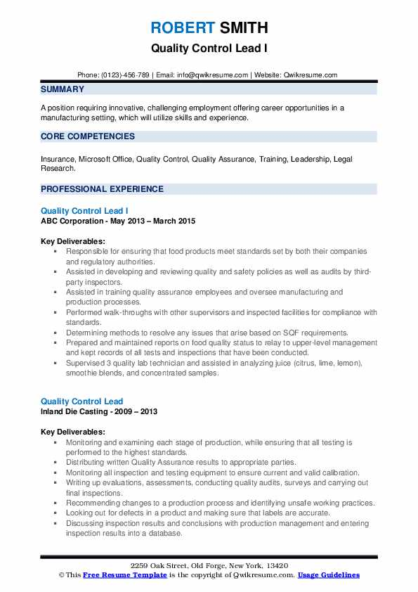 Quality Control Lead I Resume Template