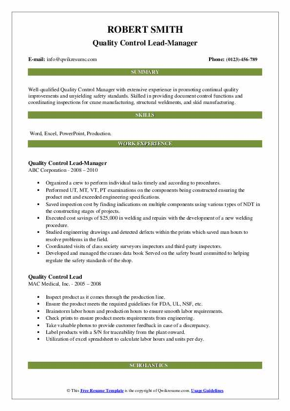 Quality Control Lead-Manager Resume Format