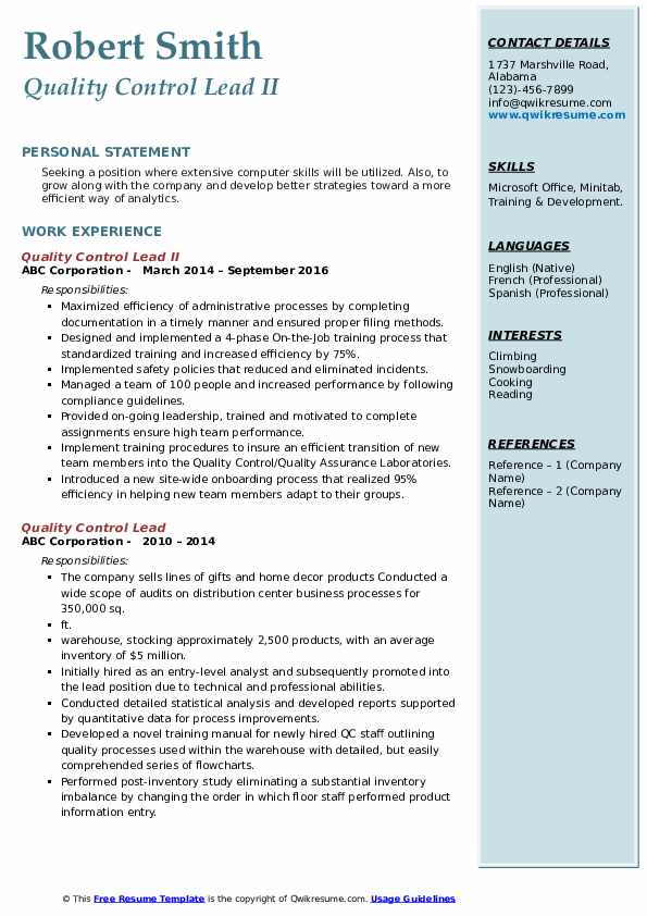 Quality Control Lead II Resume Model