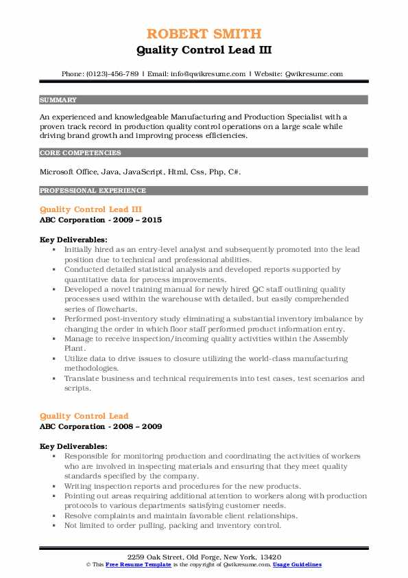Quality Control Lead III Resume Template