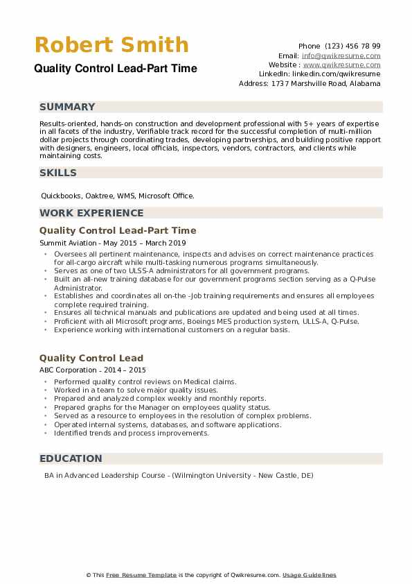 Quality Control Lead-Part Time Resume Format