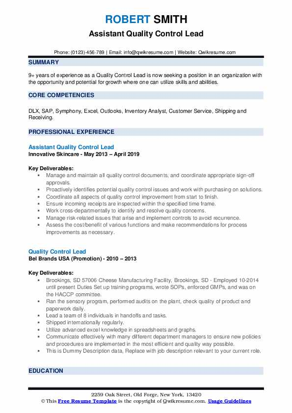 Assistant Quality Control Lead Resume Format
