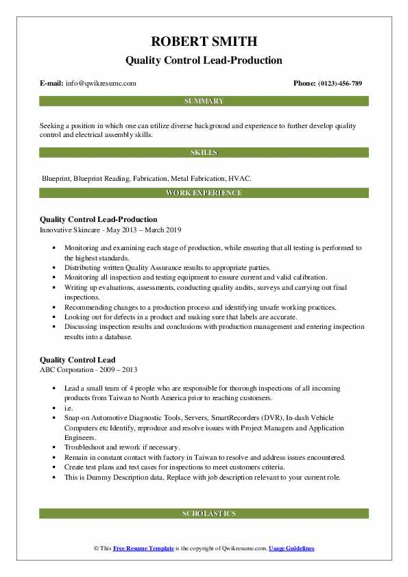 Quality Control Lead-Production Resume Format