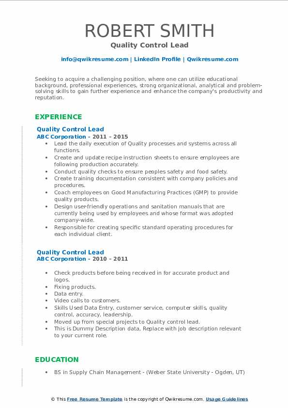 Quality Control Lead Resume example