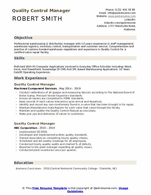 Quality Control Manager Resume Samples | QwikResume