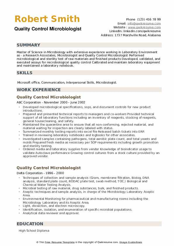 Quality Control Microbiologist Resume example