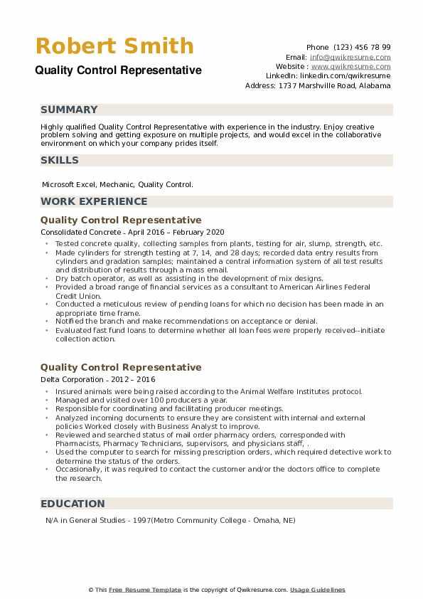 Quality Control Representative Resume example