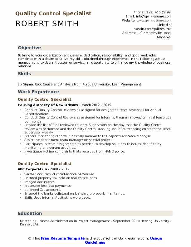 Quality Control Specialist Resume Model