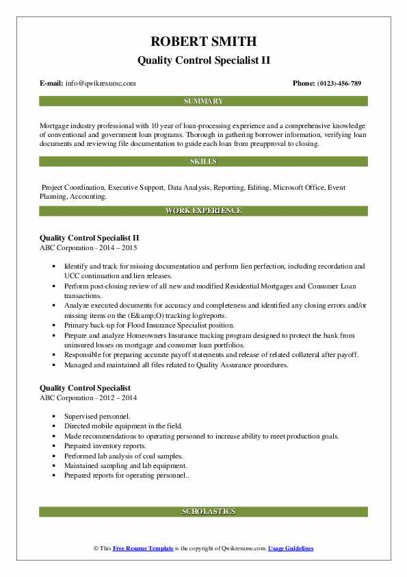 Quality Control Specialist II Resume Example