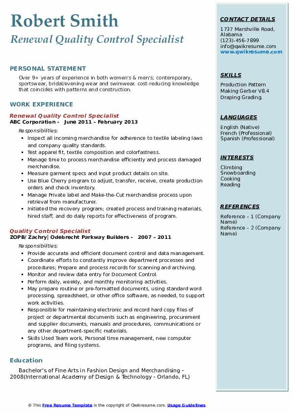 Renewal Quality Control Specialist Resume Template