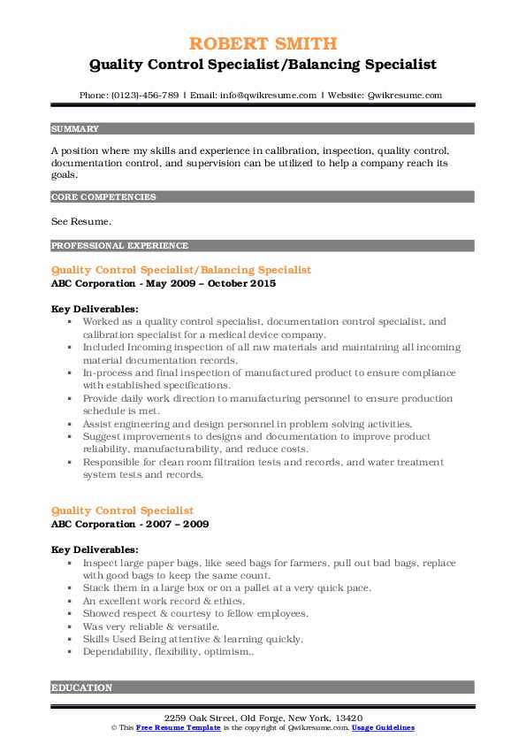 Quality Control Specialist/Balancing Specialist Resume Model