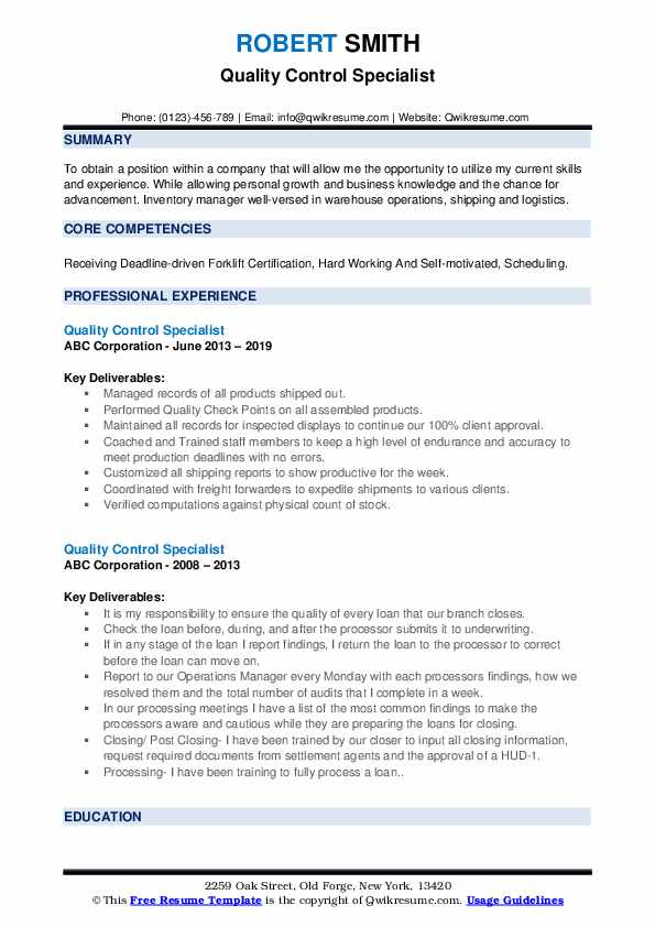 Quality Control Specialist Resume example