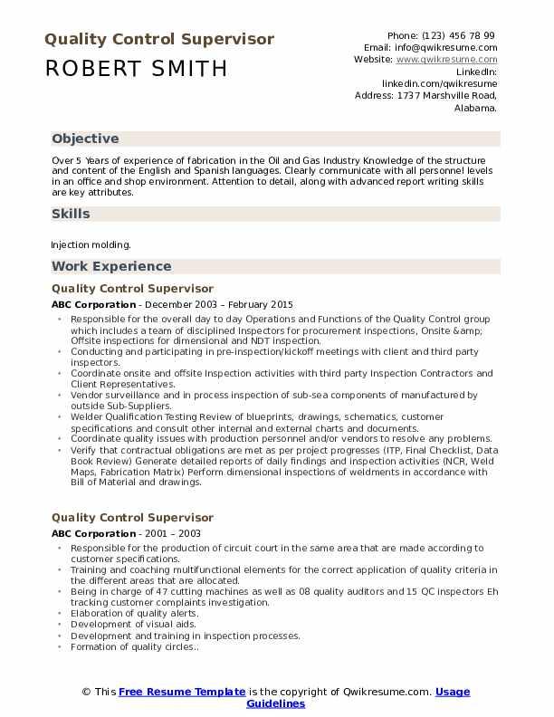 Quality Control Supervisor Resume Example