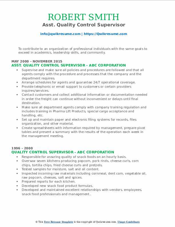 Asst. Quality Control Supervisor Resume Format