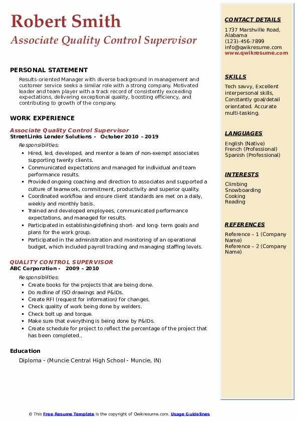 Associate Quality Control Supervisor Resume Sample